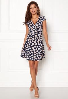 Chiara Forthi Sonnet Mini Wrap Dress s/s Dark blue / Floral Bubbleroom.se