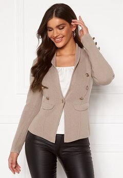 Chiara Forthi Stella heavy knit blazer Grey-beige Bubbleroom.se