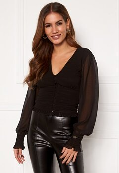Chiara Forthi Sue ruffle blouse Black Bubbleroom.se