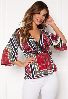 Chiara Forthi Tamara wrap top Dark blue / Red / Patterned Bubbleroom.se