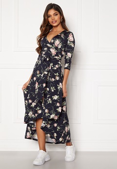 Chiara Forthi Tara 3/4 Sleeve Highlow Dress Dark navy / Floral Bubbleroom.se