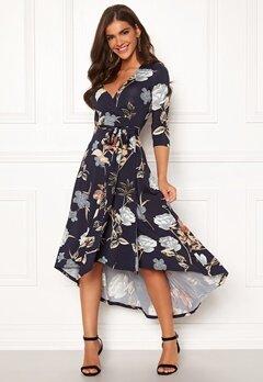 Chiara Forthi Tara 3/4 Sleeve Highlow Dress Dark navy / Floral Bubbleroom.se