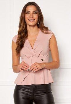 Chiara Forthi Tiziana cap sleeve wrap top Dusty pink Bubbleroom.se