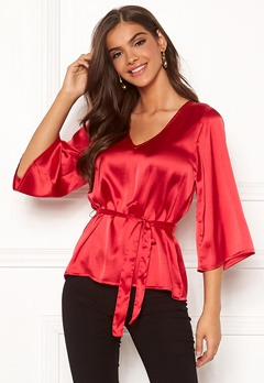 Chiara Forthi Turin tie belt blouse Red Bubbleroom.se