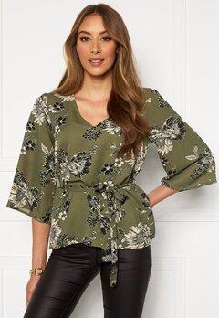 Chiara Forthi Turin tie belt blouse Khaki green / Floral Bubbleroom.se