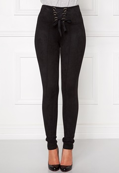 Chiara Forthi Ultra Soft Suede Pant Black Bubbleroom.no