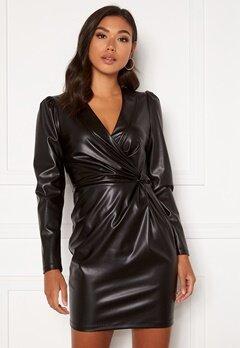 Chiara Forthi Vanni draped faux leather dress Black Bubbleroom.se