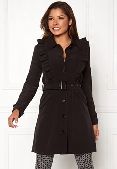 Chiara Forthi Vernazza Frill Trench Coat Black Bubbleroom.se