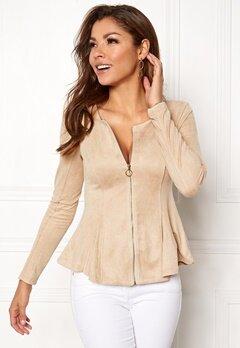 Chiara Forthi Zipped faux suede jacket Beige Bubbleroom.se