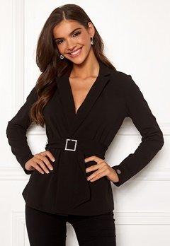 Chiara Forthi Gloria rhinstone buckle jacket Black Bubbleroom.se