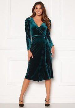 Chiara Forthi Laury puff sleeve wrap dress Green Bubbleroom.se