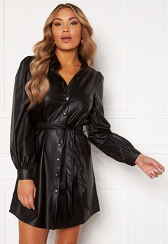 Chiara Forthi Faye faux leather shirt dress Black Bubbleroom.se