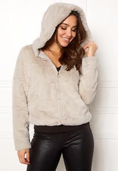 ONLY Chris Fur Hooded Jacket Pumice Stone Bubbleroom.se