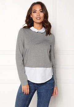 VERO MODA Cindy LS Shirt Top Medium Grey Melange Bubbleroom.fi