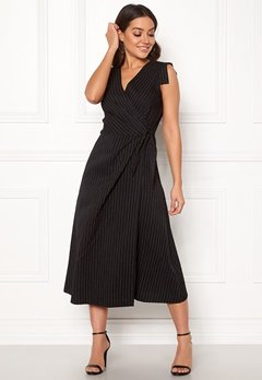 Closet London Wrap Front Midi Dress Black Stripe Bubbleroom.se