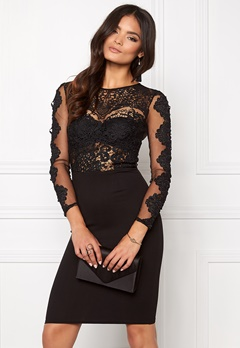 Club L Crochet Detail Midi Dress Black Bubbleroom.se