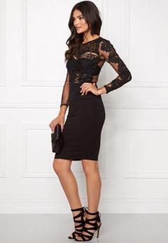 Club L Crochet Detail Midi Dress Black Bubbleroom.no