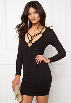 Club L Harness Detail Bodycon Black Bubbleroom.se