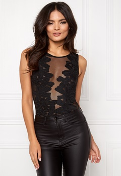 Club L Mesh Applique Bodysuit Black Bubbleroom.se