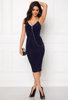 Club L Slinky Cami Strap Dress Navy Bubbleroom.se
