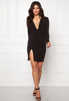 Club L V Neck Plunge Bodycon Black Bubbleroom.se