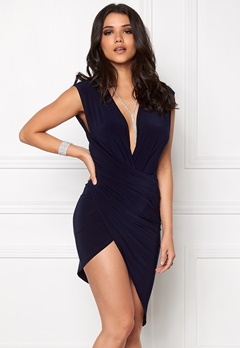 Club L Wrap It Around Bodycon Navy Bubbleroom.se
