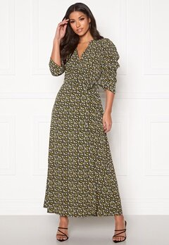 co'couture Alina Flower Wrap Dress Mustard Bubbleroom.se