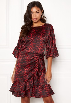 co'couture Animal Sateen Wrap Dress Rio Red Bubbleroom.se