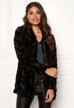 VERO MODA Curl High Neck Faux Fur Black Bubbleroom.se