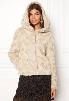 VERO MODA Curl Hoody Faux Fur Short Oatmeal Bubbleroom.se