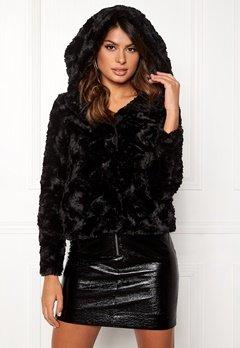 VERO MODA Curl Hoody Faux Fur Short Black Bubbleroom.se