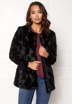 VERO MODA curl long fake fur jacket Black Beauty Bubbleroom.fi