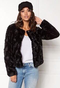 VERO MODA Curl Short Fake Fur Jacket Black Bubbleroom.se