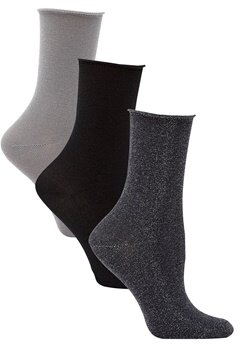 ONLY Darla Socks 3-Pack Metallic Black Bubbleroom.se