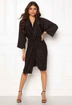 AX Paris Deep V Drape Midi Dress Black Bubbleroom.se