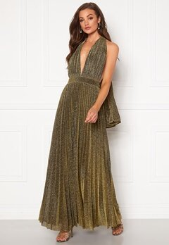 Goddiva Deep V Neck Glitter Dress Gold Bubbleroom.se