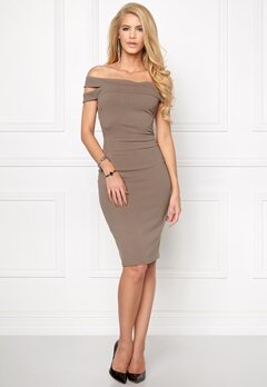 Goddiva Double Bardot Midi Dress Mocha Bubbleroom.se
