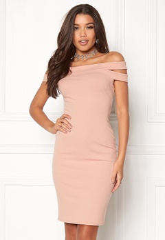 Goddiva Double Bardot Midi Dress Nude Bubbleroom.fi