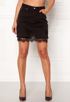 Dr. Denim Abella Denim Skirt Black Denim Laced Bubbleroom.se