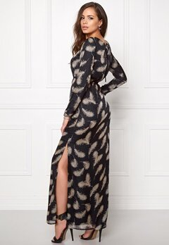 DRY LAKE Black Elf Long Dress Black Feather Print Bubbleroom.se