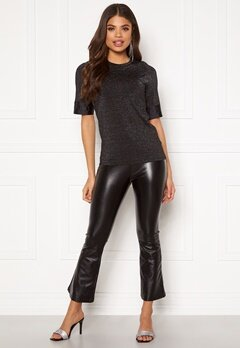 DRY LAKE Flarry Trousers 027 Black Faux Leath Bubbleroom.se
