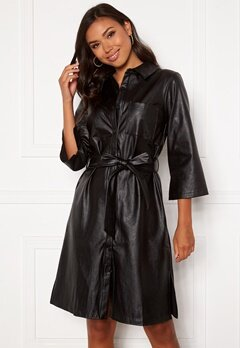 DRY LAKE Gullis Dress 027 Black Faux Leath Bubbleroom.se
