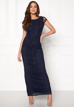 DRY LAKE Heart Long Dress 417 Navy Lace Bubbleroom.se