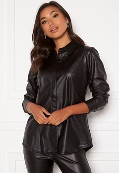 DRY LAKE Lykke Oversized Shirt 027 Black Faux Leath Bubbleroom.se