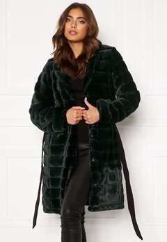 DRY LAKE Mini Bubble Faux Fur Coat 324 Green Faux Fur Bubbleroom.se