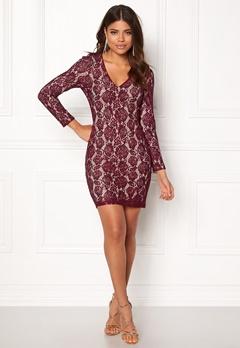 DRY LAKE Mythology Dress Burgundy Lace Bubbleroom.se