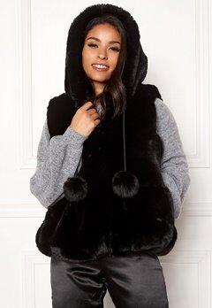 DRY LAKE Pom Pom Hoodie Vest Black Bubbleroom.se