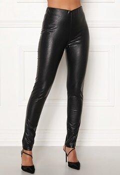DRY LAKE Sansa Trousers 027 Black Faux Leat Bubbleroom.se