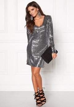 DRY LAKE Star V Dress Dark Silver Bubbleroom.se