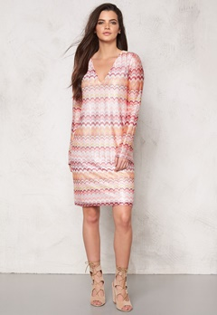 DRY LAKE Ziczac Short Dress Pink Sunset Bubbleroom.se